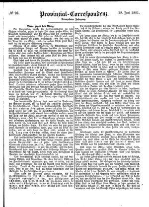 Provinzial-Correspondenz vom 29.06.1881