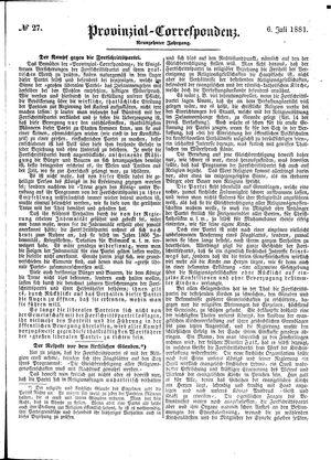 Provinzial-Correspondenz vom 06.07.1881