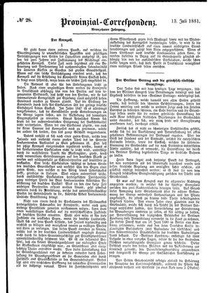 Provinzial-Correspondenz vom 13.07.1881