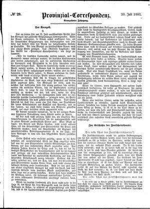 Provinzial-Correspondenz vom 20.07.1881