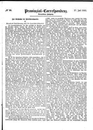 Provinzial-Correspondenz vom 27.07.1881