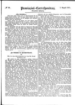 Provinzial-Correspondenz vom 03.08.1881