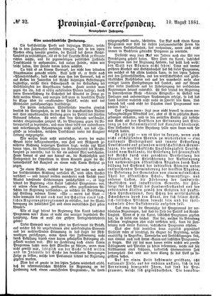 Provinzial-Correspondenz vom 10.08.1881