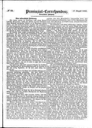 Provinzial-Correspondenz vom 17.08.1881