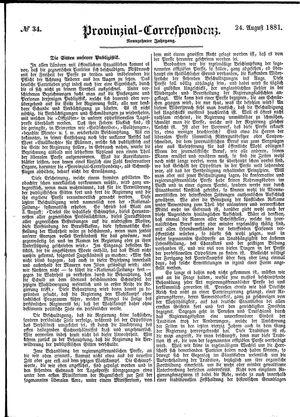 Provinzial-Correspondenz vom 24.08.1881