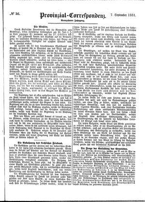 Provinzial-Correspondenz vom 07.09.1881