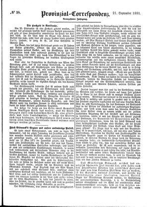 Provinzial-Correspondenz vom 21.09.1881
