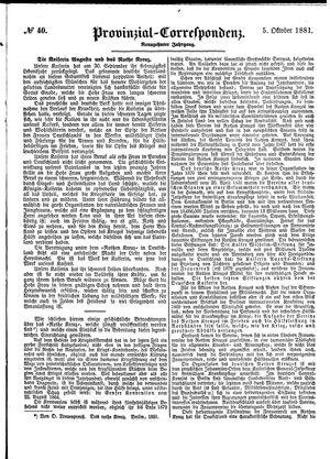 Provinzial-Correspondenz vom 05.10.1881