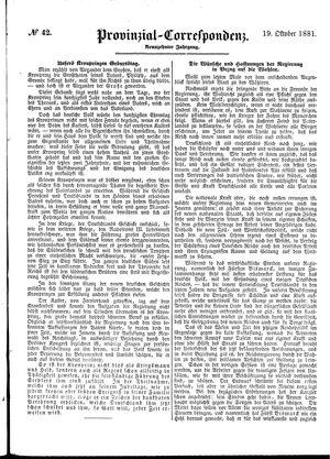 Provinzial-Correspondenz vom 19.10.1881
