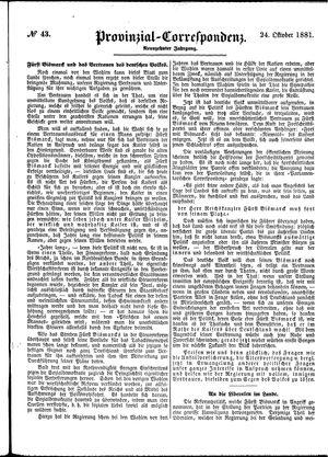 Provinzial-Correspondenz vom 24.10.1881