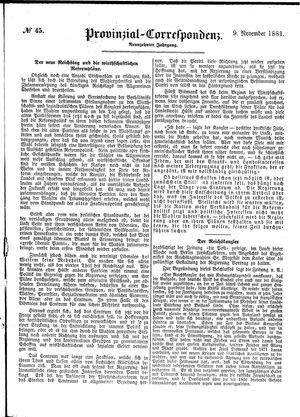 Provinzial-Correspondenz vom 09.11.1881
