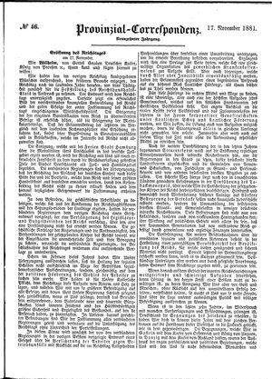 Provinzial-Correspondenz vom 17.11.1881