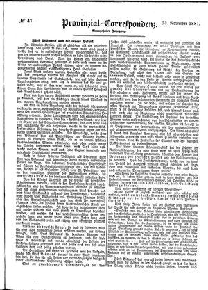 Provinzial-Correspondenz vom 23.11.1881