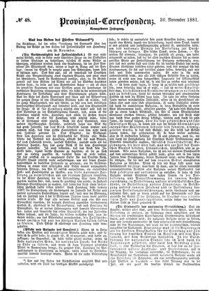 Provinzial-Correspondenz vom 30.11.1881