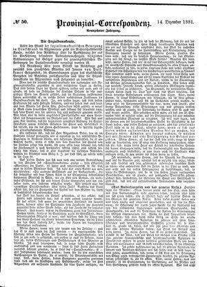 Provinzial-Correspondenz vom 14.12.1881