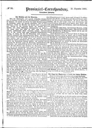 Provinzial-Correspondenz vom 21.12.1881