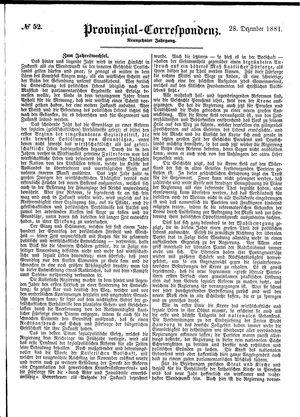 Provinzial-Correspondenz vom 28.12.1881