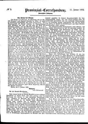 Provinzial-Correspondenz vom 11.01.1882