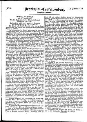 Provinzial-Correspondenz vom 18.01.1882
