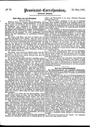Provinzial-Correspondenz vom 22.03.1882