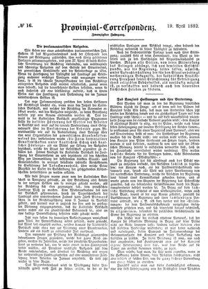 Provinzial-Correspondenz vom 19.04.1882