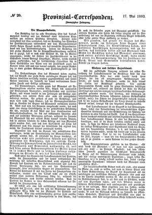 Provinzial-Correspondenz vom 17.05.1882