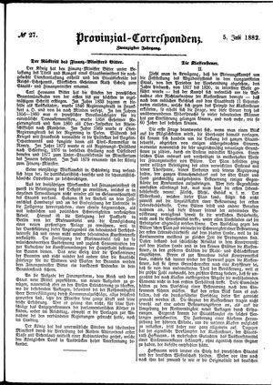 Provinzial-Correspondenz vom 05.07.1882