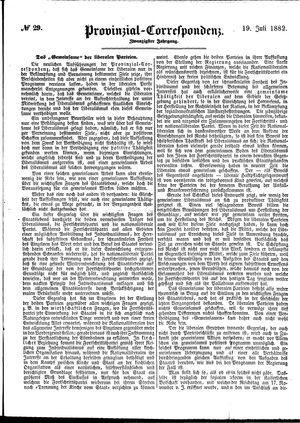 Provinzial-Correspondenz vom 19.07.1882