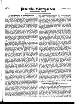 Provinzial-Correspondenz vom 17.01.1883