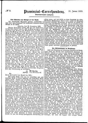 Provinzial-Correspondenz vom 31.01.1883
