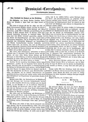 Provinzial-Correspondenz vom 19.04.1883