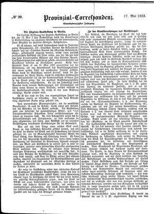 Provinzial-Correspondenz vom 17.05.1883