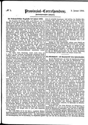 Provinzial-Correspondenz vom 03.01.1884