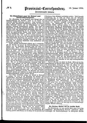 Provinzial-Correspondenz vom 16.01.1884