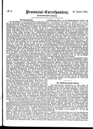 Provinzial-Correspondenz vom 23.01.1884