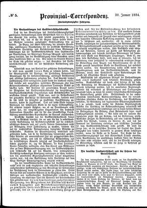 Provinzial-Correspondenz vom 30.01.1884