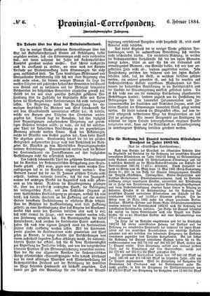Provinzial-Correspondenz vom 06.02.1884