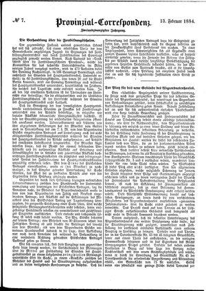 Provinzial-Correspondenz vom 13.02.1884