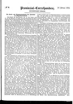 Provinzial-Correspondenz vom 27.02.1884