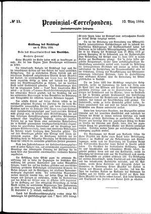 Provinzial-Correspondenz vom 12.03.1884