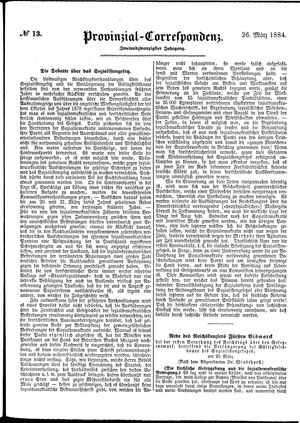 Provinzial-Correspondenz on Mar 26, 1884
