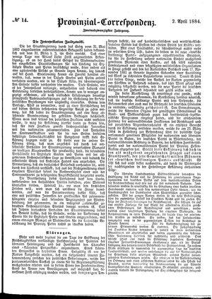 Provinzial-Correspondenz vom 02.04.1884