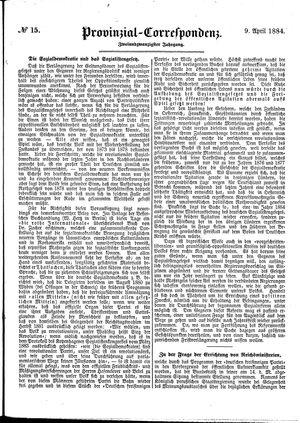 Provinzial-Correspondenz vom 09.04.1884