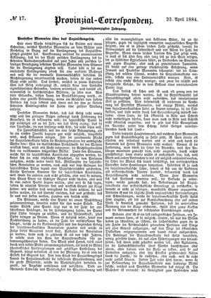 Provinzial-Correspondenz vom 23.04.1884