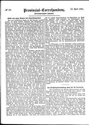 Provinzial-Correspondenz vom 30.04.1884