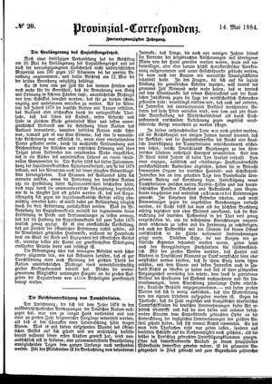 Provinzial-Correspondenz vom 14.05.1884