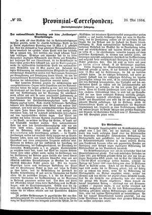 Provinzial-Correspondenz vom 28.05.1884