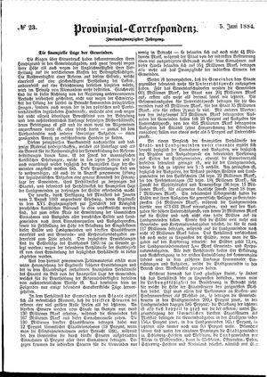 Provinzial-Correspondenz vom 05.06.1884