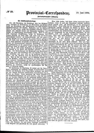 Provinzial-Correspondenz vom 18.06.1884